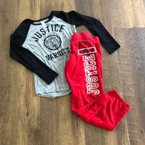 Justice long sleeve tee + joggers